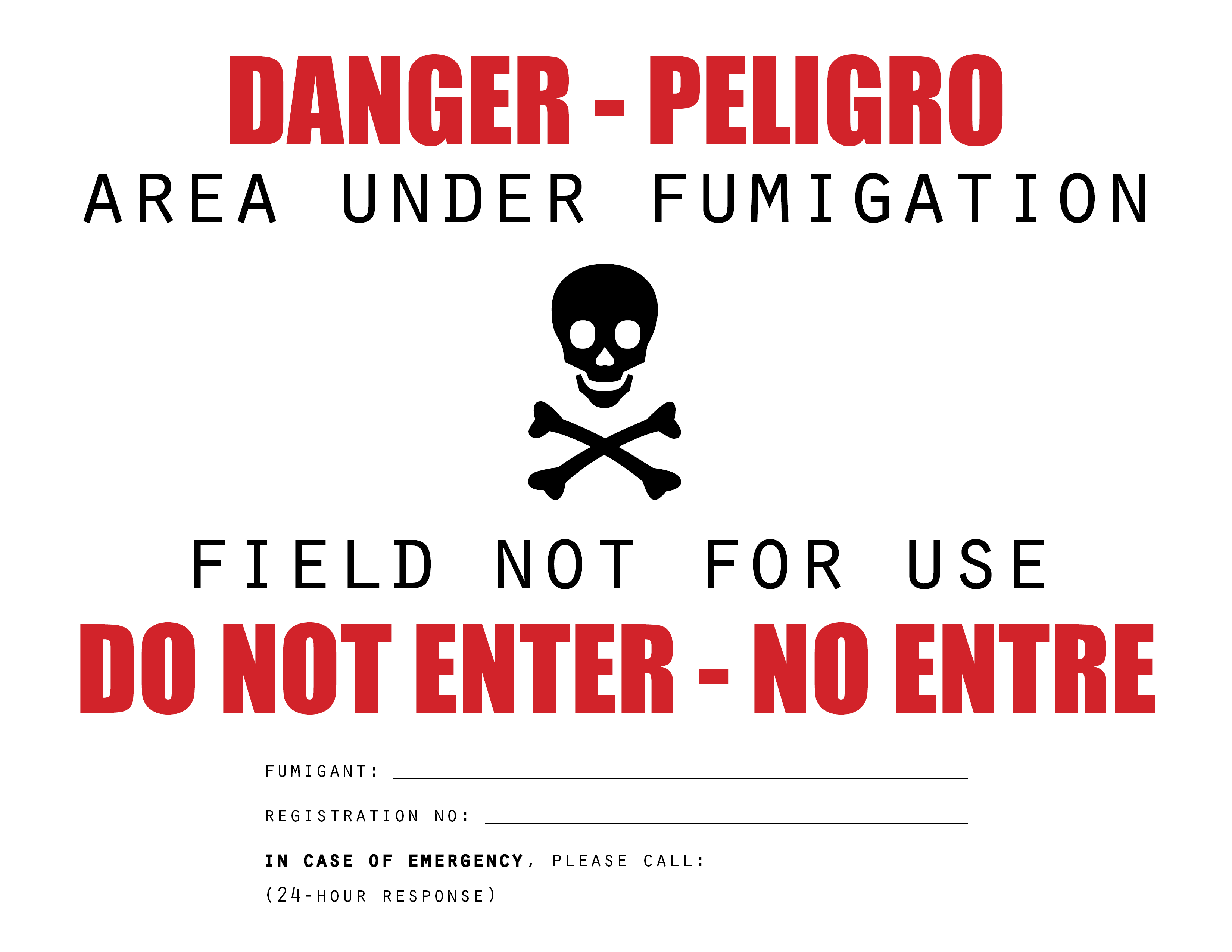 Fumigation warning sign